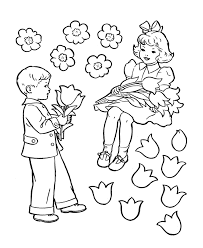 Small Picture Valentine Boy And Girl Boy And Girl Valentine Coloring Page Say
