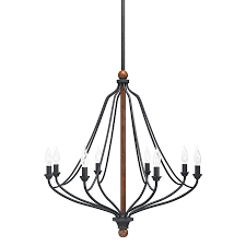 Shop Kichler Carlotta 27 01 In 8 Light Distressed Black And Wood