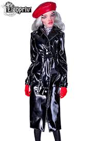 black patent leather trench coat with wide belt and full lining for pashapasha dolls