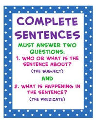 Complete Sentences 4th Grade