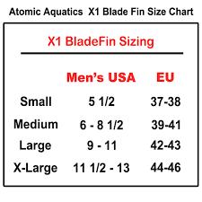 Atomic Fins Size Chart Atomic Aquatic X1 Fin