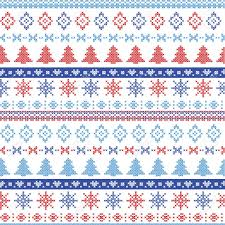 Nordic Pattern Magnificent Dark And Light Blue And Red Christmas Nordic Pattern With Snowflakes