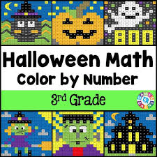 Small Picture Halloween Math Color by Number 3rd Grade Games 4 Gains