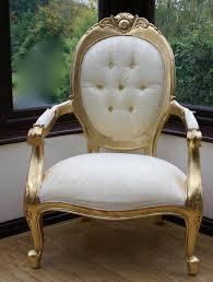cream and gold throne chair