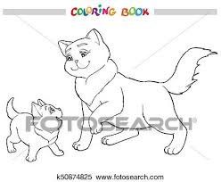 clipart vector ilration cat mother with kitten coloring book fotosearch search clip