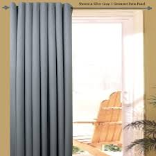 great grey fabric sliding curtain for midcentury patio door window treatments as well as wooden adirondack chairs veranda furnishing views in modern house