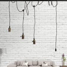 vintage triple light sockets pendant hanging kit fixture plug switch base twisted black textile white fitting