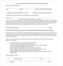 Letter Of Recommendation For Nursing School 44 Sample Letters Of Recommendation For Graduate School Doc Pdf