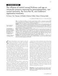 Pdf The Influence Of Central Corneal Thickness And Age On