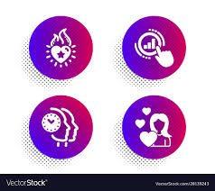 Graph Chart Heart Flame And Time Management Icons