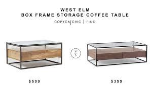 west elm glass coffee table west elm box frame storage coffee table copycatchic