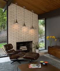 Mid Century Modern Fireplace Design With Concrete
