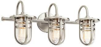 bathroom lighting fixtures. kichler 45133ni caparros modern brushed nickel 3light bathroom lighting fixture loading zoom fixtures