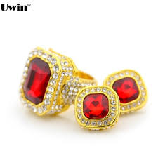 fashion street hip hop jewelry set men s gold tone rhinestone ring earring set iced out