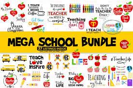 Choose from 8000+ teacher graphic resources and download in the form of png, eps, ai or psd. School Bundle Svg Mega School Bundle Svg 110809 Cut Files Design Bundles