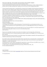 Resume Builder Template Free Free Printable Sample Resume