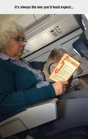 funny old lady reading book