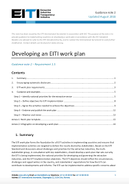 work plan examples guidance note 2 on developing an eiti work plan including