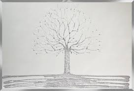 pharmore silver glitter swarovski tree liquid glass wall art with mirror frame