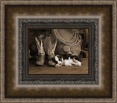 on framed western wall art with cowboy puppy framed wall art