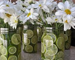 Daisies and Limes in Mason Jars - Casual Centerpiece