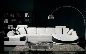 Black And White Living Room Color Scheme: Black Accent Wall With White Black  Furniture