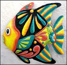 hand painted metal fish wall hanging