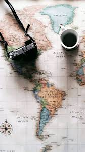 screen background image handy living: world map travel plans camera coffee iphone  wallpaper