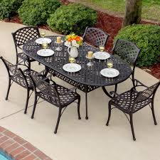 heritage 6 person cast aluminum patio dining set with oval table by lakeview outdoor designs