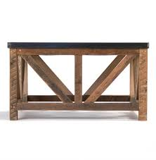 regan zinc top chunky reclaimed wood rustic coffee table kathy