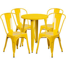 24 round yellow metal indoor outdoor table set with 4 cafe chairs ch