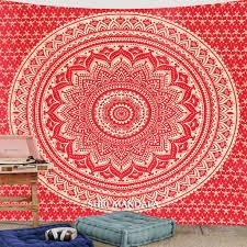 red gold bohemian mandala tapestry wall hanging throw