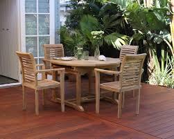 blaxland 7 piece teak round extending outdoor setting