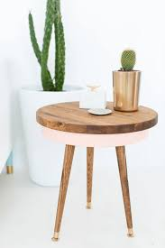 trendy round wooden end table