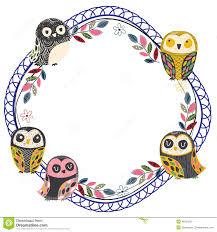 vintage owl frame layout  stock vector  image
