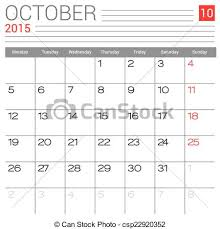 Simple Calendar Template 2015 October 2015 Calendar