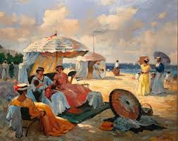 francis cristaux figurative painting elegant figures on beach large french impressionist oil painting