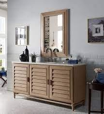 James Martin Portland Single 60 Inch Transitional Bathroom Vanity White Washed Walnut