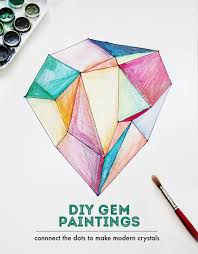 diy crystal gem jewel paintings watercolor crafts with kids sharpie diy small for