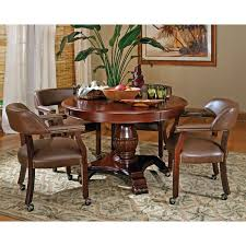 image of furniture waverly place tall wing back upholstered caster with dining chairs with