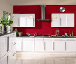 kitchen cabinet door replacement for modern kitchen with red painted wall and white simple panel wall