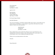 security deposit return letter template refund sle exle