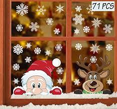 Heekpek Fensterdeko Weihnachten Fensterbilder Winter Statisch Haftende Pvc Aufklebe Weihnachtsmann Süße Elche Wiederverwendbar Schneeflocken Fenster