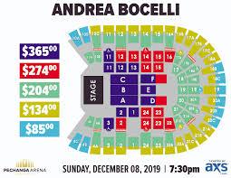Pechanga Arena Seating Chart Andrea Bocelli Pechanga Arena San Diego