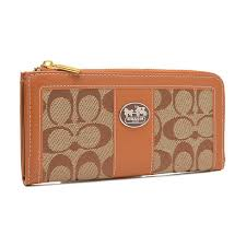 Coach Legacy Accordion Zip In Signature Large Orange Wallets FCS