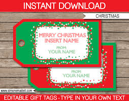 Christmas Gift Tags Template Red Green