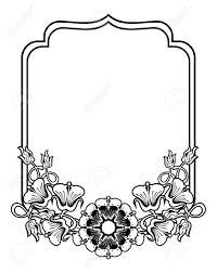 抽象的な花と垂直輪郭黒と白のフレームラインの本広告結婚式招待状ラベルグリーティング