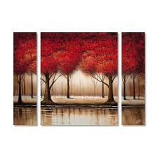 parade of red trees by rio 3 piece painting print on wrapped canvas set