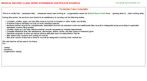 Technician Medical Record Work Experience Certificates