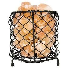 himalayan natural salt 7 5 in pink air purifying cylinder mesh basket lamp with salt chunks